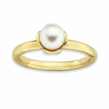 Sterling Silver Stack Exp. White FW Cultured Pearl Gold-plated Ring