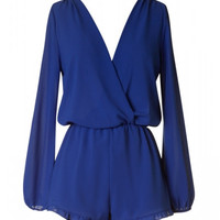 Hold My Hand Long Sleeve Deep V Romper - Royal Blue
