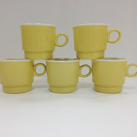 Mod Yellow Stacking Mugs by vintage19something on Etsy