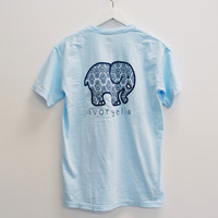 Pocketed Sky Blue Hamsa Short Sleeve Tee