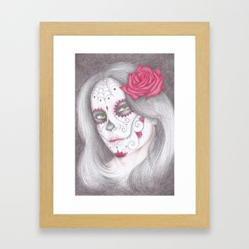 Dia De Los Muertos - Rose Framed Art Print by drawingsbylam