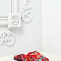 Red Silky Embroidered Floral Slides