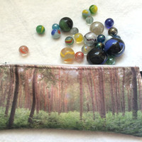 Pencil Case Green forest pencil pouches gifts for her for him nature scene make up case nature photo supply cosmetic bag gadget zipper pouch