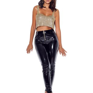 Indira High Waisted Front Zip Stretch Vinyl Leggings