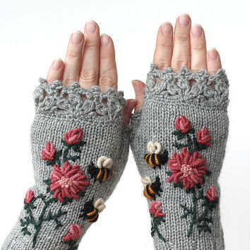 Knitted Fingerless Gloves, Gloves & Mittens, Gift Ideas, For Her, Winter Accessories, Grey, Roses, Bees, Women, Fashion, Accessories