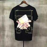 """OFF-WHITE"" Unisex Casual Fashion Personality Pattern Print Couple Short Sleeve T-shirt Top Tee"