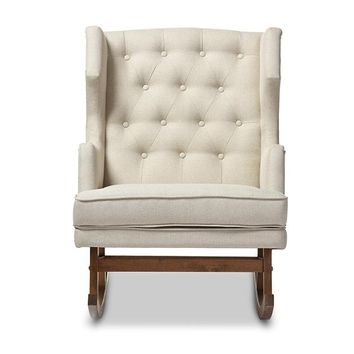 Baxton Studio Iona Mid-century Retro Modern Light Beige Fabric Upholstered Button-tufted Wingback Rocking Chair Set of 1