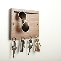 Blokkey Eyewear and Key Holder in Walnut by Brad Reed Nelson: Wood Wall Organizer | Artful Home