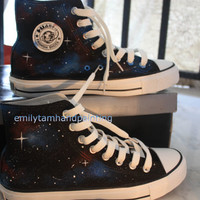 Galaxy Converse Shoes Newest Galaxy Design, Hand Painted Galaxy Kicks