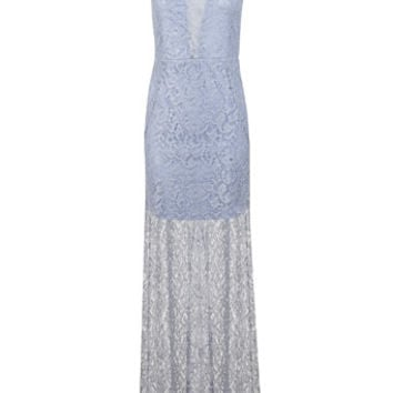Blue Lurex Lace Maxi Dress - Clothing - New In