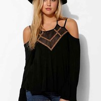 Staring At Stars Embroidered Lace-Up Top- Black XS