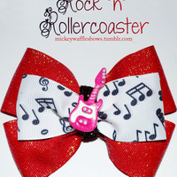 Rock n Rollercoaster Hair Bow by MickeyWaffles on Etsy