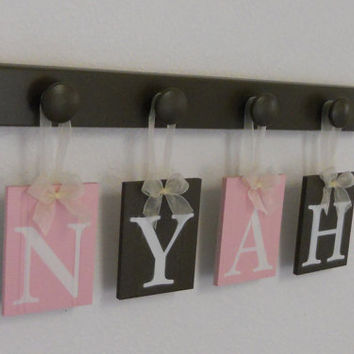 Pink and Brown Nursery Decorating Ideas, Wooden Wall Letters 4 Peg Hooks Personalized NYAH Custom Baby Girl Shower Gift