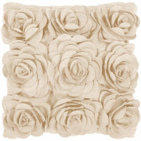 Beige Roses Felt Flower Pillow