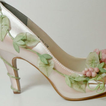 Fairytale  Wedding Shoes, Fairytale Princess Bride's Shoes, Peeptoe Garden Wedding Shoes,