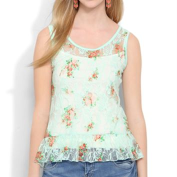 Lace Floral Tank with Ruffle Bottom Hem