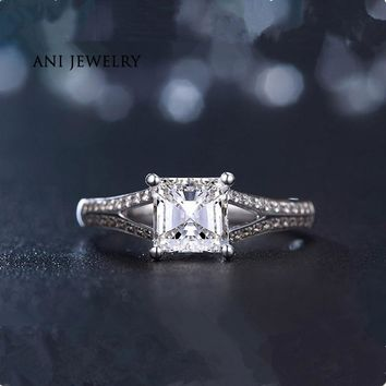 ANI 18K White Gold (AU750) Women Wedding Ring 0.79CT Certified I/SI Princess Cut Diamond Jewelry Magnificent Design Promise Ring
