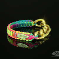 ON SALE: Multi-Color Neon Cobra Silky Bracelet with Golden Chain