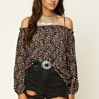 Contemporary Floral Open-Shoulder Top