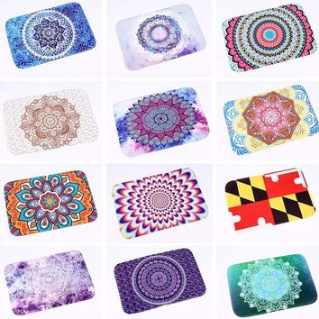 Autumn Fall welcome door mat doormat Homing Durable Commercial s Flannel Rainbow Color Mandala Lotus Floral Rugs Anti-slip 40*60cm Bedroom Bedside Foot Pads AT_76_7