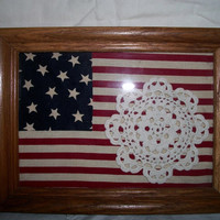American Flag Doily Wood Frame Country Farmhouse Fourth of July Memorial Day Doilie Patriotic Home Decor