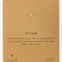 Women's Dogeared 'Reminder - Wish' Wishbone Pendant Necklace