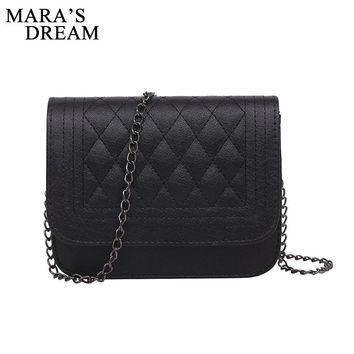 Mara's Dream 2017 PU Leather Women Messenger Bag Plaid Ladies Crossbody Bag Chain Trendy Candy Color Small Flap Shopping Handbag