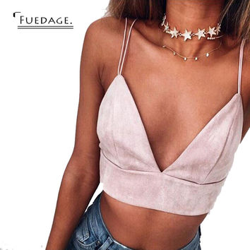 sexy women crop top cropped feminino tank tops solid simple beach women bra top bustier vintage harness v-neck sleeveless tops