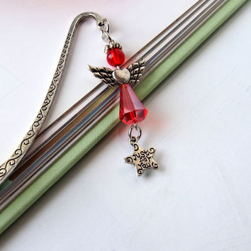 Angel Bookmark - Red Guardian Angel Charm - Religious Spiritual Gifts - Unique Beaded Bookmark - Teacher Gifts
