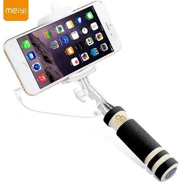 MEIYI S1 Extendable Wired Self Selfie Stick Monopod Cable Holder for iPhone 6s 6 5s 5 se for Android Phone 4.2.2 Above