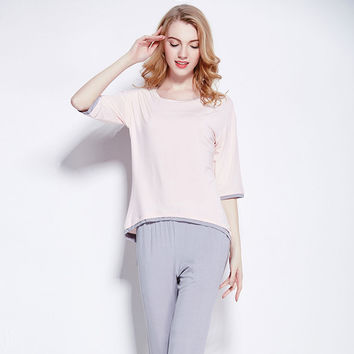 Autumn Sleepwear Three-quarter Sleeve Casual Home Set [4918266820]