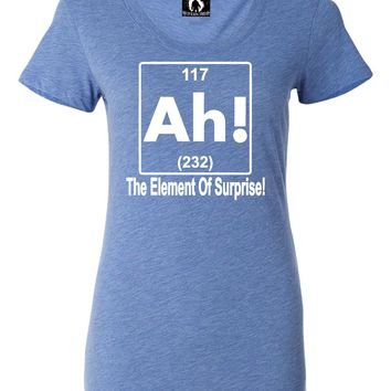 Womens Ah! The Element Of Surprise Funny Science Nerd Geek Tri-Blend T-shirt