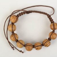 Handmade designer woven cotton cord bracelet with wooden beads gift idea