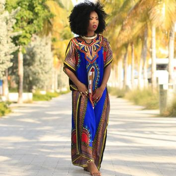 african dresses for women 2018 Fashion sexy African Print  Dress Kaftan lady casual dress women summer long maxi dress vestidos