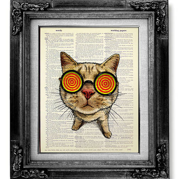 Cat Poster, Geekery Art, GEEK Art, Geek Print, Geek Decor, Hipster Decor, Geekery Poster, Funny Gift Idea, NERD Decor, Cat HIPSTER Wall Art
