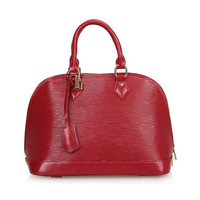 Genuine Leather Dome Bag Tote Handbag with Detachable Crossbody Strap-Winered from KissBags