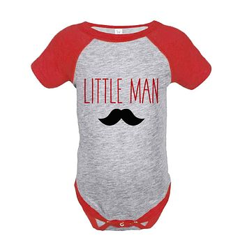 Boys Little Man Outfit - Mustache Red Raglan Shirt - Big Man Little Man - Happy Fathers Day Gift, Boys Onepiece or Shirt - Toddler, Youth