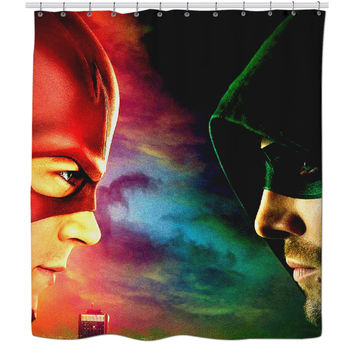 Flash And Arrow Head To Head Shower curtain