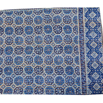 Beautiful Queen size Hand Block Print Kantha Hand Made Quilts,Bedcover,Kantha Bedspread, kantha Bed Quilts,Kantha Wall Hanging Home Decor