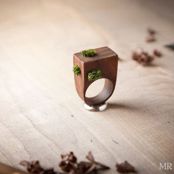 Modern Eco Statement Ring, Grass Summer Ring, Forest Ring 008