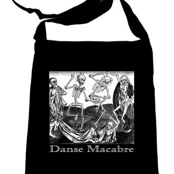 The Dance Of Death Danse Macabre Crossbody Sling Bag Skeletons
