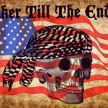 biker skull american flag digital original art print, motorcycle art, original artwork, modern art, stars and stripes, art for men, skeleton