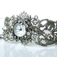 Silver Women Wrist Watch - Vintage Style - Victorian Gothic Watch - Wedding Jewelry