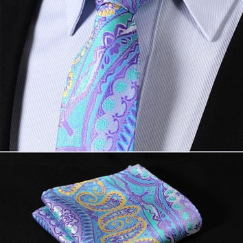 "TF3004B7 Blue Yellow skinny floral 2.75"" 100%Silk Woven Slim Skinny Narrow Men Tie Necktie Handkerchief Pocket Square Suit Set"