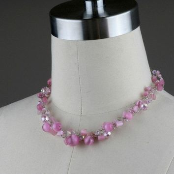Chunky crochet wiring pink cat eye choker necklace  bridesmaids gifts Free US Shipping handmade anni designs