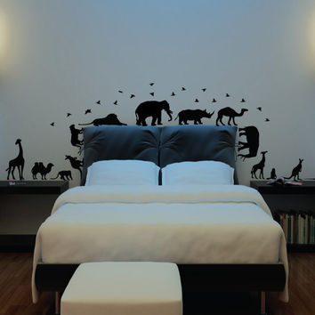 African Safari Wall Decal Elephant, Giraffe, Monkey, Kangaroo, Birds, Lion, Animals Wall Decal Sticker Decor