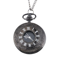 Antique Flower Carved Watches Design Steampunk Bronze Quartz Watch Roman Numerals Pendant Long Chain Pocket Watches