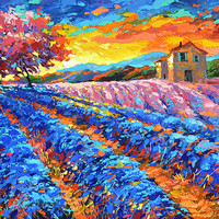 Evening in Provence - Oil on canvas Painting by Dmitry Spiros. wall decor, home decor, lavender painting, living room decor art