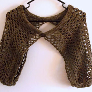 Handmade Crochet bolero shrug jacket, three quarter sleeve lacy cover for cool days and evenings