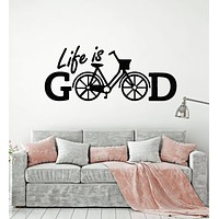Vinyl Wall Decal Phrase Life Is Good Bicycle Positive Quote Home Room Decor Stickers Mural (g2648)